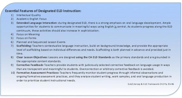 Essential Features of Designated ELD Instruction