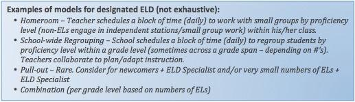 Examples of models for designated ELD
