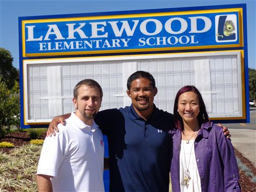 SYWL co-founder Daniel McCune, NCAA Wrestling Champion Mark Munoz, and Lakewood Principal Pamela Cheng kickoff new league.