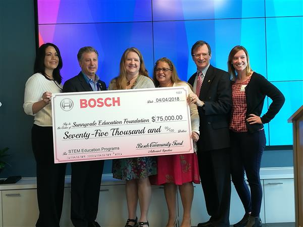 big check gifted from Bosch to Sunnyvale Education Foundation