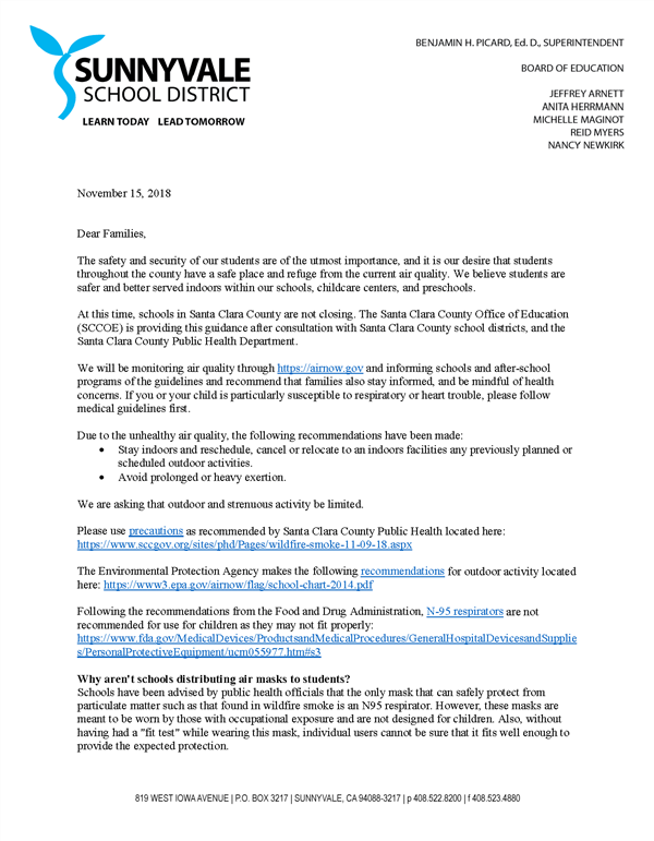 letter from the Sunnyvale School District