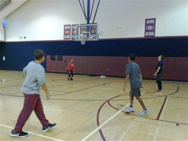 CMS students play basketball with city police for fun before school