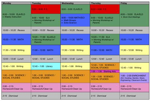 Room #14 Weekly Schedule